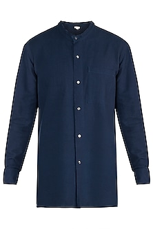 Navy blue handloom shirt by Fahd Khatri