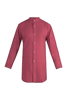 Rust red long shirt by Fahd Khatri