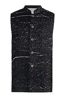 Black rib woven nehru jacket