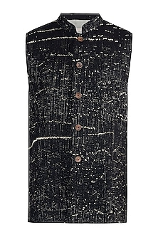 Black rib woven nehru jacket by Fahd Khatri
