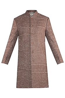 BROWN RIB WOVEN INDOWESTERN JACKET