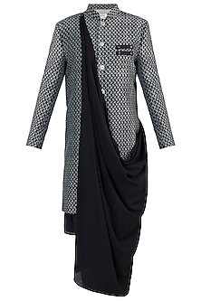 Black cotton sherwani jacket
