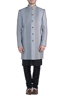 Grey sherwani jacket by Fahd Khatri