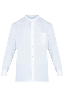 White khadi shirt by Fahd Khatri