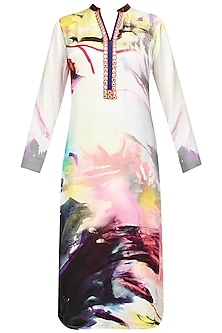 Off white hand painted kurta with dupatta