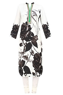 Off white and black floral printed kurta with dupatta