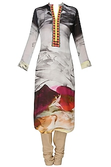 Grey floral printed kurta with dupatta
