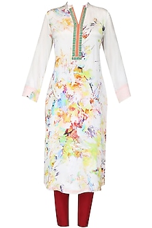 Multicolour abstract printed kurta with dupatta