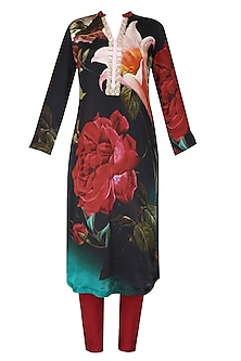 Black and red floral printed kurta with dupatta