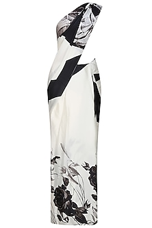 Off white and black floral printed saree with unstitched blouse