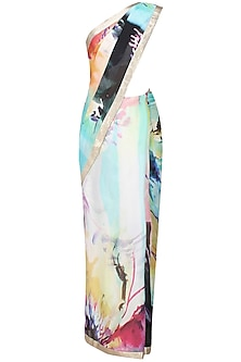 Off white abstract printed saree with unstitched blouse by Flamingo By Shubhani Talwar