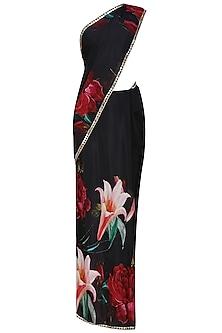 Black and red floral printed saree with black blouse piece