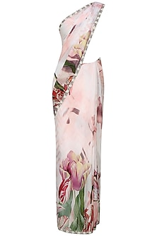 Off white and pink floral printed saree with unstitched blouse