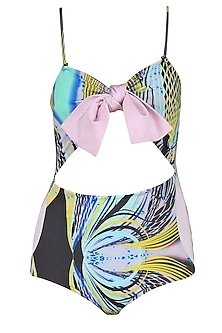 Lilac Bow Tie Up Printed Cut Out Swimsuit