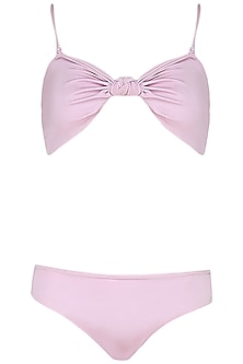 Plain Pink Knotted Bikini Set