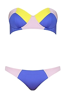Purple, Nude And Lemon Yellow Color Blocked Printed Bandeau Bikini Set