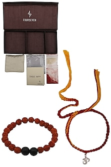 Om' Charm Pendant and Moli Thread Rakhi Set