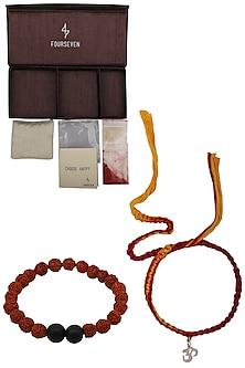 Om' Charm Pendant and Moli Thread Rakhi Set by FOURSEVEN