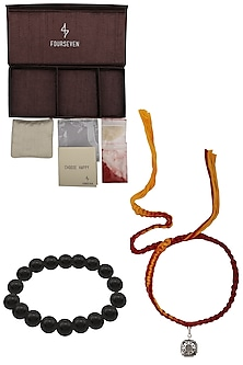 Shri Yantra Charm Pendant and Moli Thread Rakhi Set