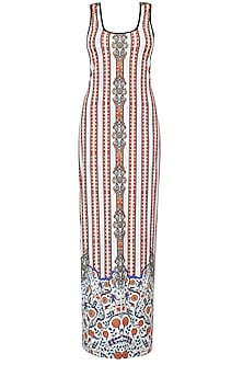 White Stripes And Ceramic Print Sleeveless Maxi Dress