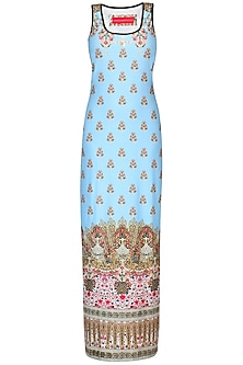Mint Green Jewel And Motifs Print Sleeveless Maxi Dress