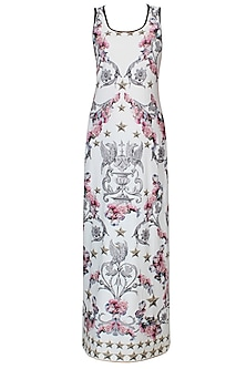White Baroque And Star Gaze Print Sleeveless Maxi Dress by Falguni and Shane Peacock