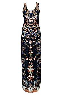 Phantom Black Floral Print Sleeveless Maxi Dress