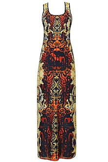 Black, Poppy Red And Gold Baroque Print Maxi Dress