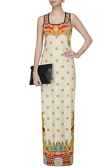 Off White Jewel Print And Gold Motifs Maxi Dress by Falguni and Shane Peacock