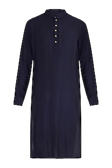 Dark Blue Kurta With Meenakari Buttons by Gaurav Katta