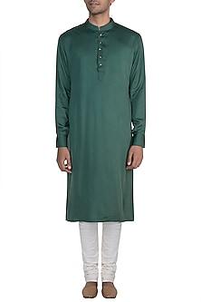 Dark Green Kurta With Meenakari Buttons by Gaurav Katta