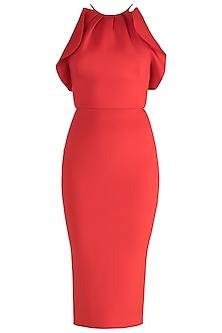 Red Halter Neck Pencil Dress by Gauri and Nainika