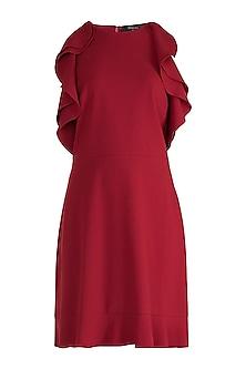 Maroon Cold Shoulder Mini Dress by Gauri and Nainika