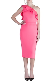 Fuchsia Asymmetrical Neckline Dress by Gauri and Nainika