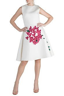 White A-Line Neoprene Dress by Gauri and Nainika