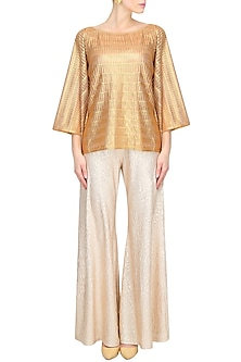 Gold Stripes Printed Kaftan Top by Gaaya by Gayatri Kilachand
