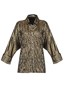 Shimmer Bronze Crushed Button Down Loose Shirt