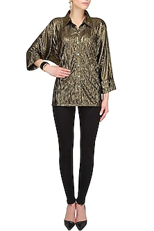 Shimmer Bronze Crushed Button Down Loose Shirt by Gaaya by Gayatri Kilachand