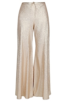 Light Gold Self Rose Printed Flared Palazzo Pants