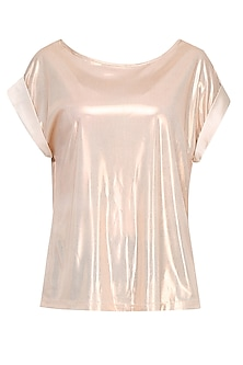 Shimmer Gold Folded Sleeves Loose Top