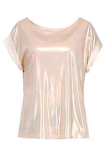 Shimmer Gold Folded Sleeves Loose Top by Gaaya by Gayatri Kilachand