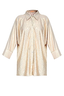 Gold Crushed Self Rose Print Loose Button Down Shirt