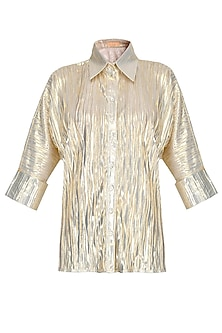 Gold Loose Button Down Shirt by Gaaya by Gayatri Kilachand