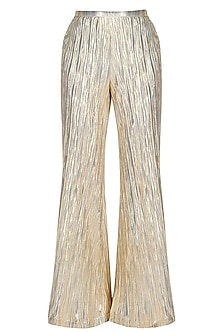 Gold Knitted Flared Palazzo Pants