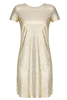 Gold Self Rose Printed Shift Dress