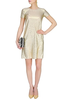 Gold Self Rose Printed Shift Dress by Gaaya by Gayatri Kilachand
