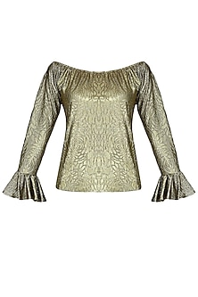 Gold Metallic Self Rose Print Off Shoulder Top