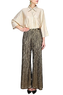 Black And Gold Crushed Flared Palazzo Pants by Gaaya by Gayatri Kilachand