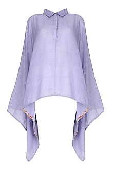 Purple Floral Finish Asymmetric Hem Cape Top