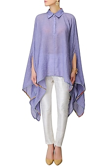 Purple Floral Finish Asymmetric Hem Cape Top by Gaaya by Gayatri Kilachand